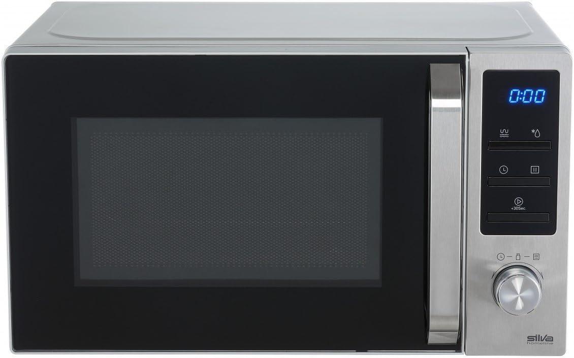 Silva-Homeline MWG-E 20.8 INOX - Microondas con grill (800-1000 W, pantalla LCD iluminada, 20 litros, 5 niveles de potencia)