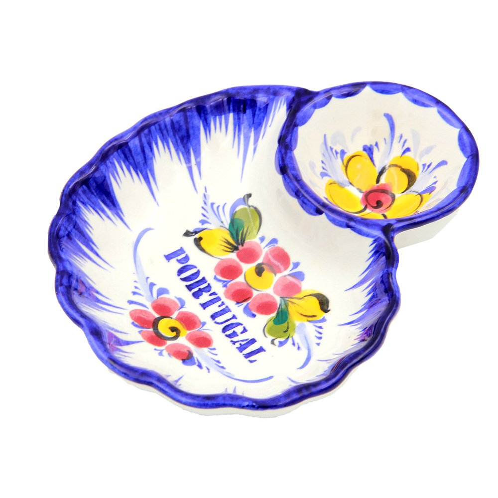 Hand Painted Traditional Portuguese Ceramic Olive Dish (Flowers)