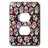 3dRose lsp_216983_6 Colorful Tossed Sugar Skulls Pattern 2 Plug Outlet Cover