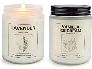 CREASHINE Vanilla Ice Cream & Lavender Candles for Home Scented, Aromatherapy Candle 2 pcs, Soy Wax Candle Set, Women Gift with Strongly Fragrance Essential Oils Jar Candles