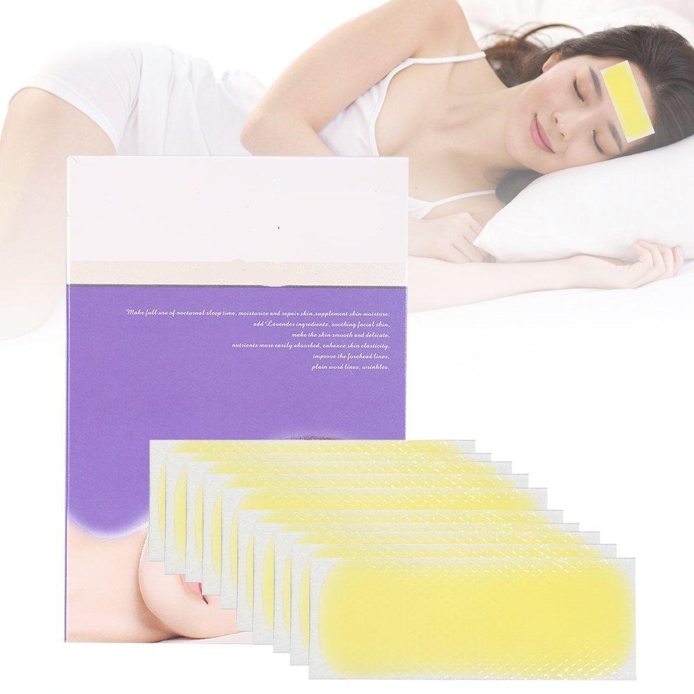 Facial Patch, 10 piezas Tiras de frente Gel de colágeno Anti-envejecimiento almohadillas hidratantes contra la frente arrugas facial plegables (Amarillo) ZJchao