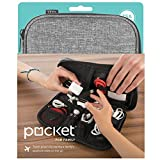UT Wire Pocket Family Travel Organizer Case with Full Zipper for Charger Cable Power Bank SD Memory Card Accessories Holder Grey (UTW-PKT5-GY)