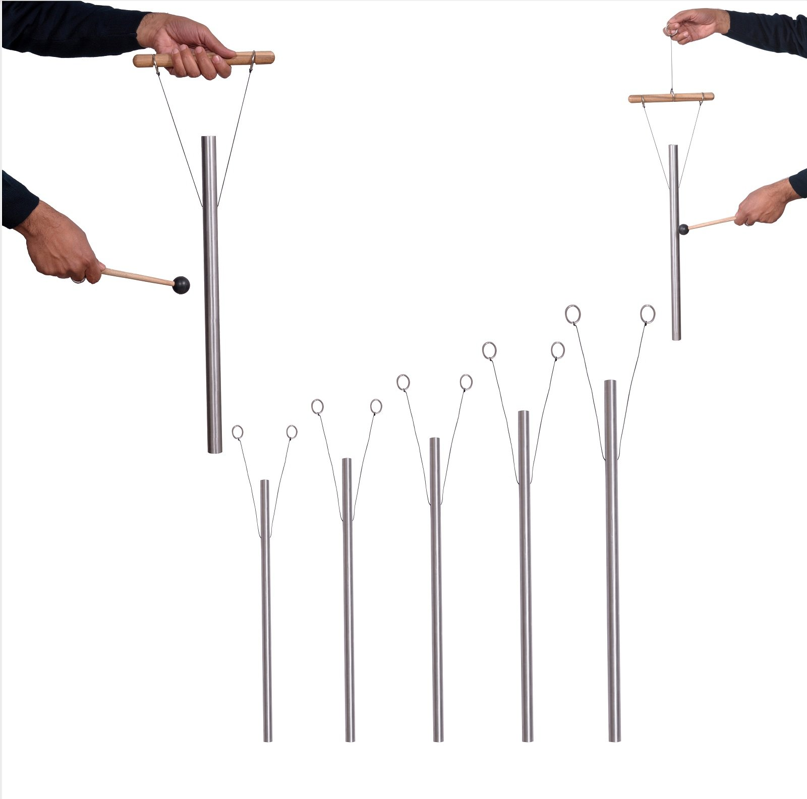 TFS Tuningforkshop 5 Brain Healing Tuned Pipes Louder Than Tuning Fork with Mallet,Hand Stand & Free Shipping
