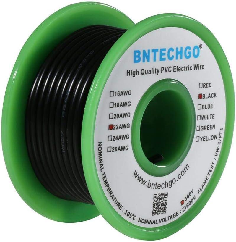 Bntechgo 22/AWG 1007/Fil /électrique en PVC de calibre 22/1007/dor/és Hook Up Fil 300/V Stranded Fil de cuivre /étam/é Noir 7,6/m par bobine pour DIY