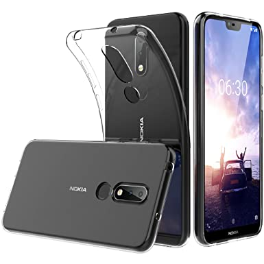 new arrival c11cb e8577 Peakally Nokia 6.1 Plus/ X6 Case, Soft TPU Transparent Protector Case Cover  for Nokia 6.1 Plus/ X6, Anti Slip, Scratch Resistant-Transparent/Clear