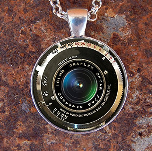 Price comparison product image Jewelry tycoon® VINTAGE CAMERA PENDANT Antique Camera Lens Pendant Gray Black White Photography Pendant Photographer Necklace Graflex Not An Actual Lens