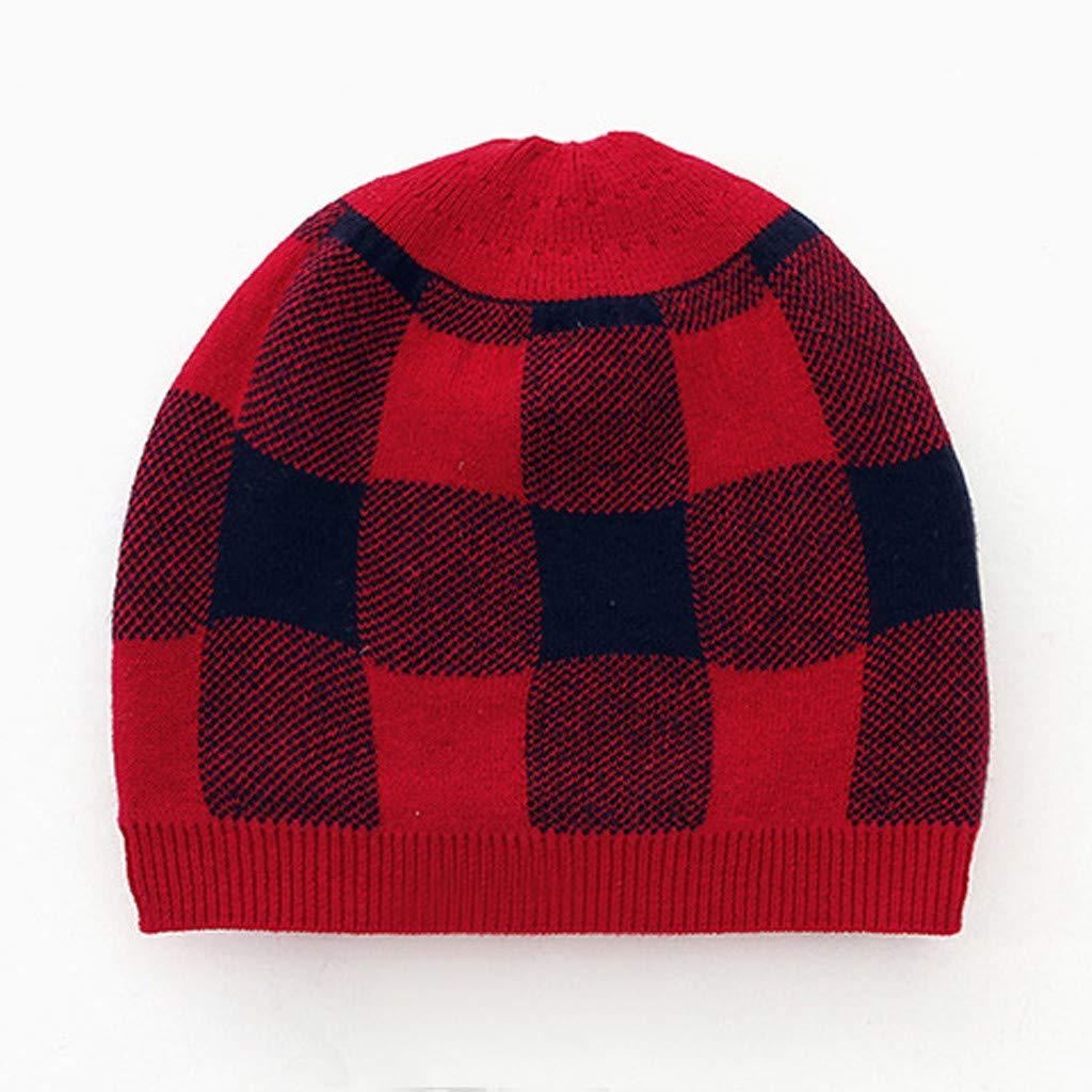Baby Winter Warm Sweater Jumpsuit,Jchen Infant Boy Girl Cute Cartoon Deer Plaid Print Jumpsuit+Hat Outfits for 0-24 Month