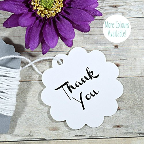Classic Scallop Circle - White Scallop Thank You Favor Tags - Wedding Tags (set of 20)