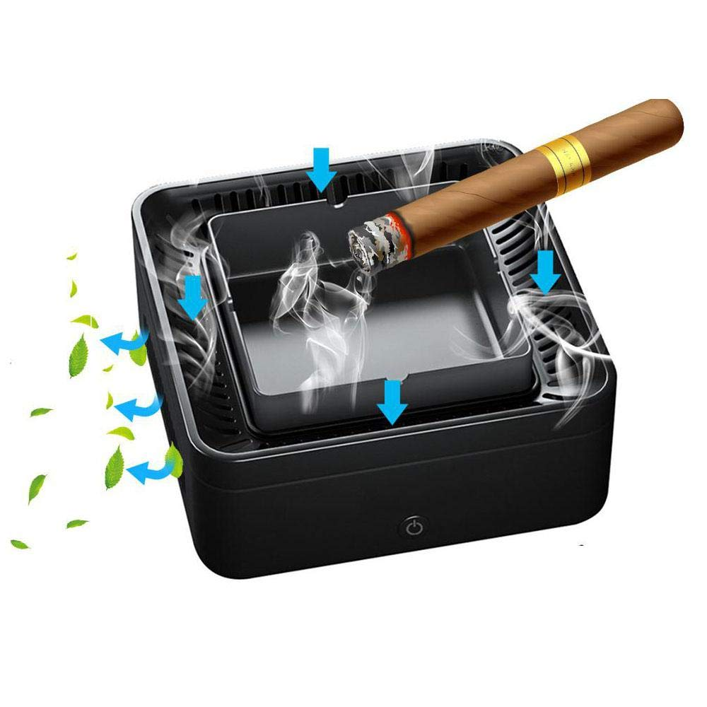 Lesgos Smokeless Ashtray Air Purifier, Multifunction USB Rechargeable Smoke Grabber Ashtray Secondhand Smoke Remover Negative Ion Air Freshener for Home/Office/Car(Upgrade) by Lesgos