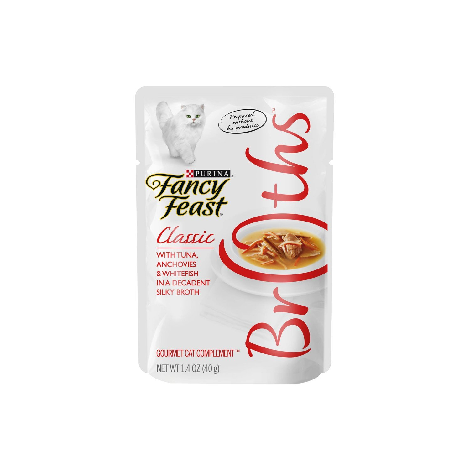 Purina Fancy Feast Fancy Feast Broths for Cats, Classic, With Tuna Anchovies and Whitefish - (16) 1.4-Ounce Pouches