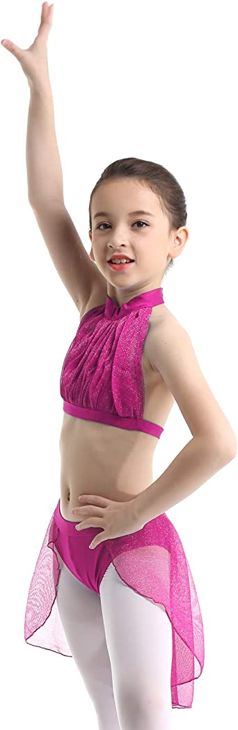 YiZYiF Maillot de Ballet Danza para Ni/ñas Leotardo Encaje Traje Bailarina Bodys Rendimiento Baile 5-14 A/ños