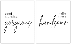 """Good Morning Gorgeous Hello There Handsome Printable - Unframed, Bedroom Quote Set, Home Decor, Wall Art, Bathroom Décor, Bedroom Print Set (Good Morning, 8"""" x 10"""")"""