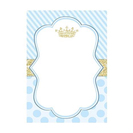 30 tarjetas invitaciones, agradecimiento fiestas, cumpleaños, baby shower, principe, azul dorado