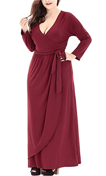 DolphinBanana Women\'s Long Sleeves Vneck Burgundy Evening ...