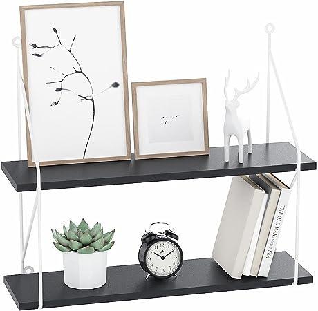 Negro, 2 Baldas Libros Befied Estanter/ía para pared con 2//3 estantes de madera Estanter/ía flotante decorativa estante de almacenamiento para Plantas Ornament