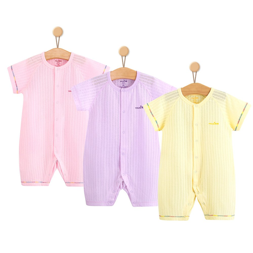 Baby Girl Clothes Boy Rompers Summer Short Sleeve Toddler Infant Jumpsuit Clothing (18-24 Months, Pink Purple Yellow)
