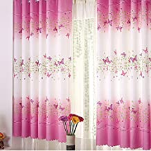 Norbi Tulle Room Window Sheer Panel Curtain Flower Butterfly