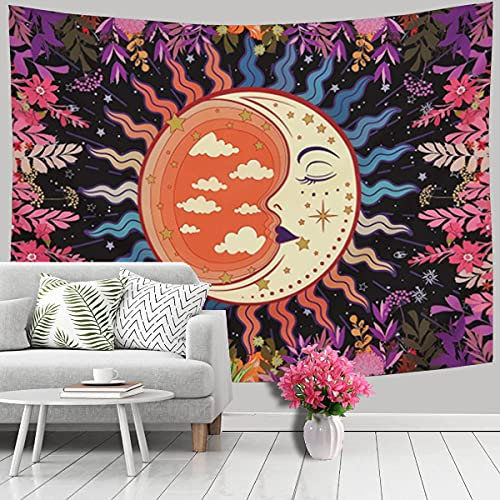 Tapestry for Bedroom, Moon Garden Tapestry Wall Hanging Wall Tapestry Black as Wall Art for Living Room, Dorm Decor