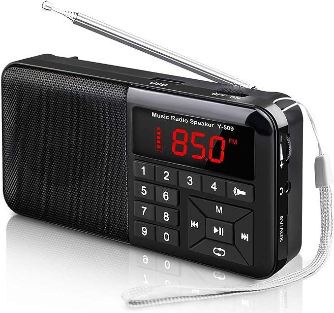 Radio Portátil Pequeña FM Radio de Bolsillo Estéreo Sintonización Digital Radio con Linterna LED, Reproductor de MP3 AUX Micro-SD Pendrive TF Card (No Incluido): Amazon.es: Electrónica