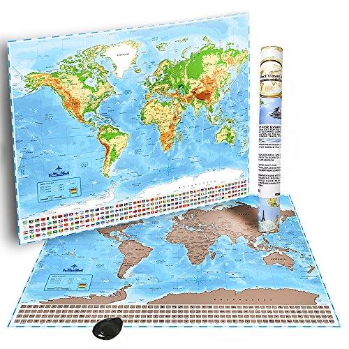 "World Travel Scratch Off Map by OnYx Creation: 32""X24"" W"