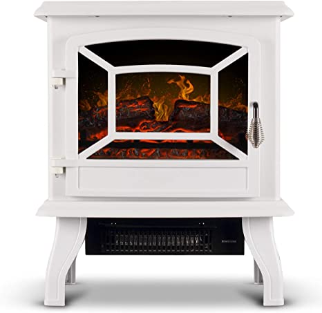 Della Freestanding 3d Infrared Electric Fireplace Stove White 17 Inch Portable Indoor Space Heater 1400w Csa Certified Home Kitchen