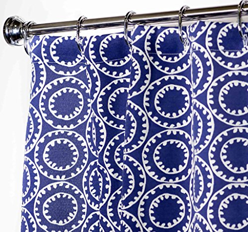 (Extra Long Shower Curtain Bathroom Curtains Fabric Shower Curtains Blue Nautical Decor 84 Inch)