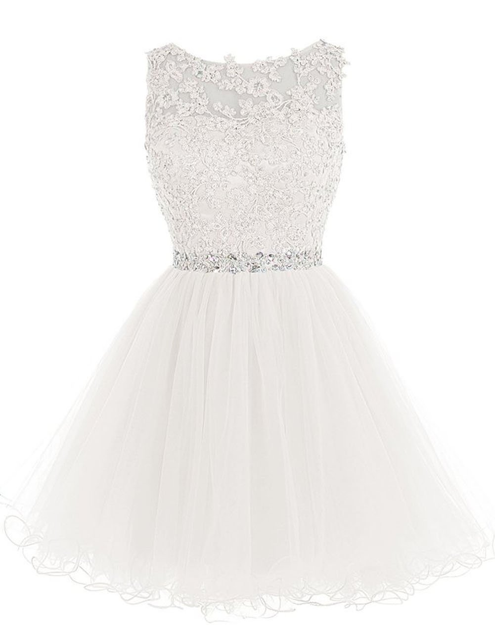 Cdress Short Tulle Homecoming Dresses Appliques Beads Cocktail Dress Prom Gowns Ivory US 6