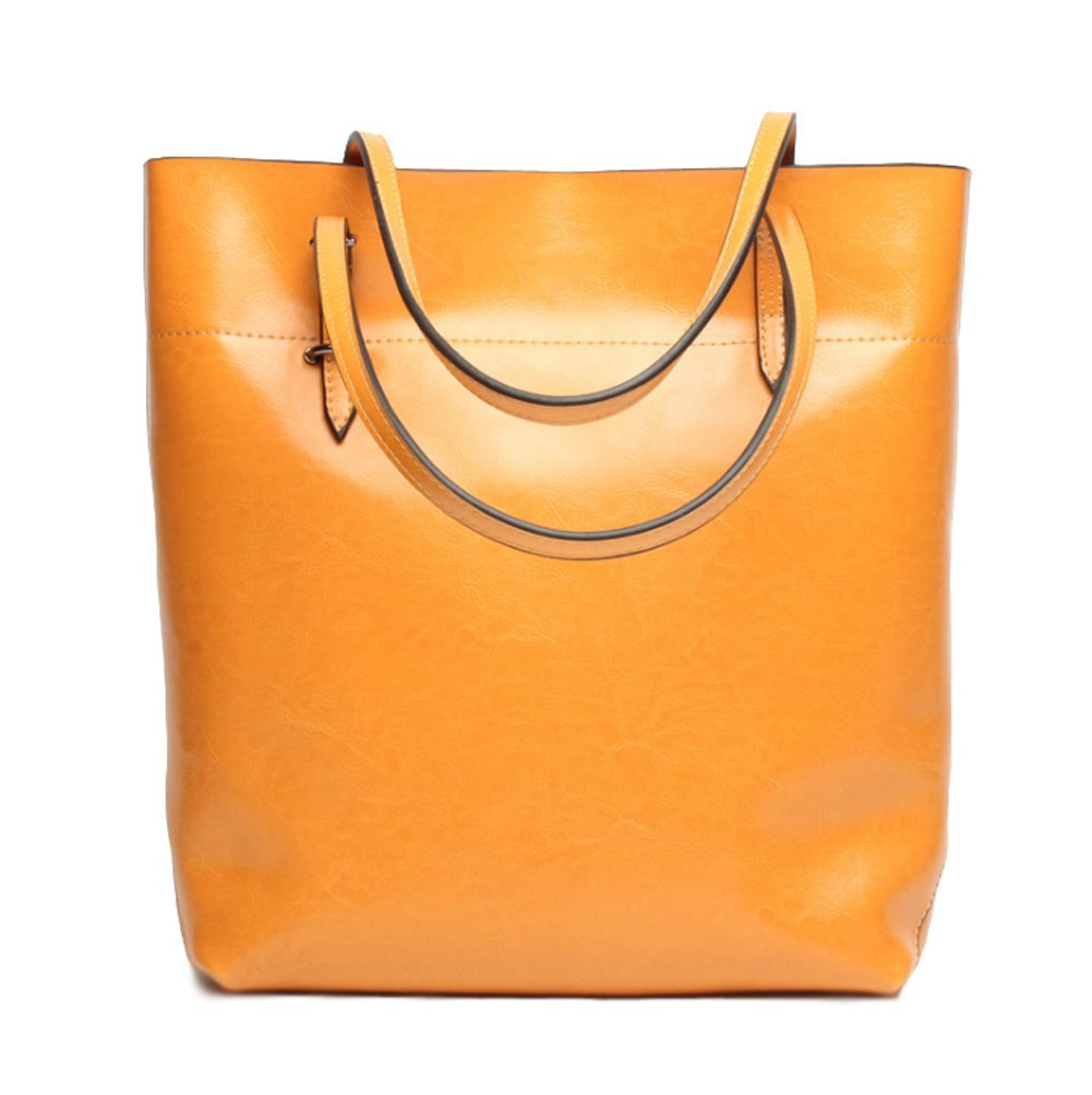 Covelin Women's Handbag Genuine Leather Tote Shoulder Bags Soft Hot (Orange Vertical)