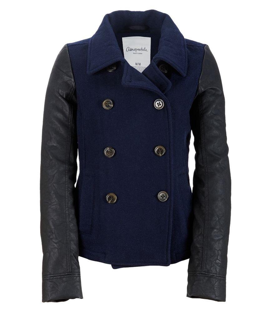 Aeropostale Womens Leather Sleeve Pea Coat 468 L