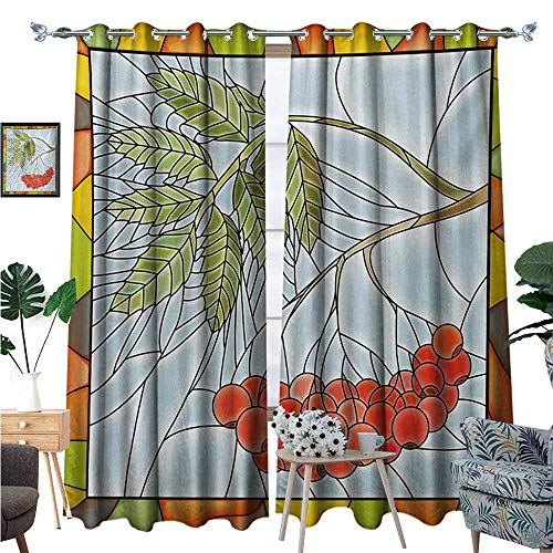 s Window Curtain Fabric Rowan Branch Motif on a Stained Glass Frame Noel Season Berries Winter Theme Drapes for Living Room W120 x L96 Multicolor ()