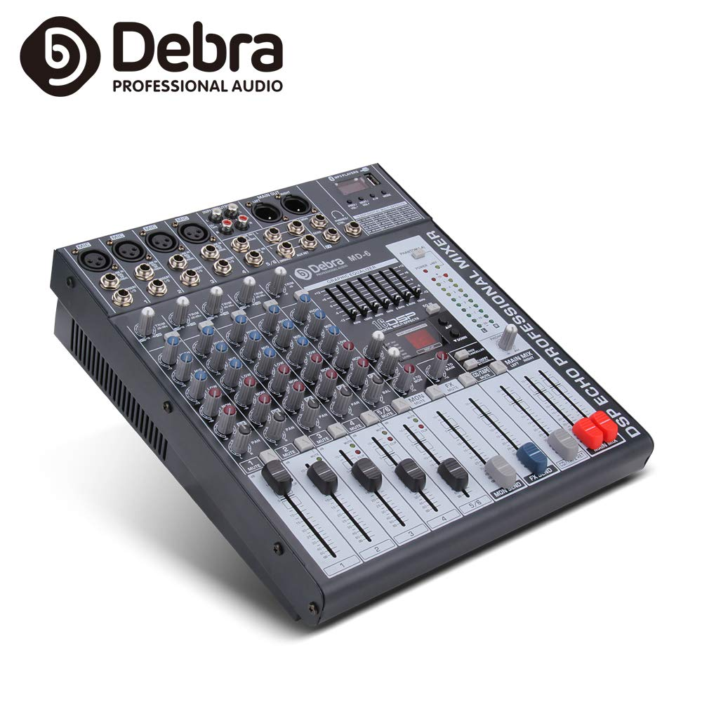 Good quality, Clean sound!!! 6 Channels Mixer Digital Audio Mixing Console with 48V Phantom Power USB Slot for Recording Stage