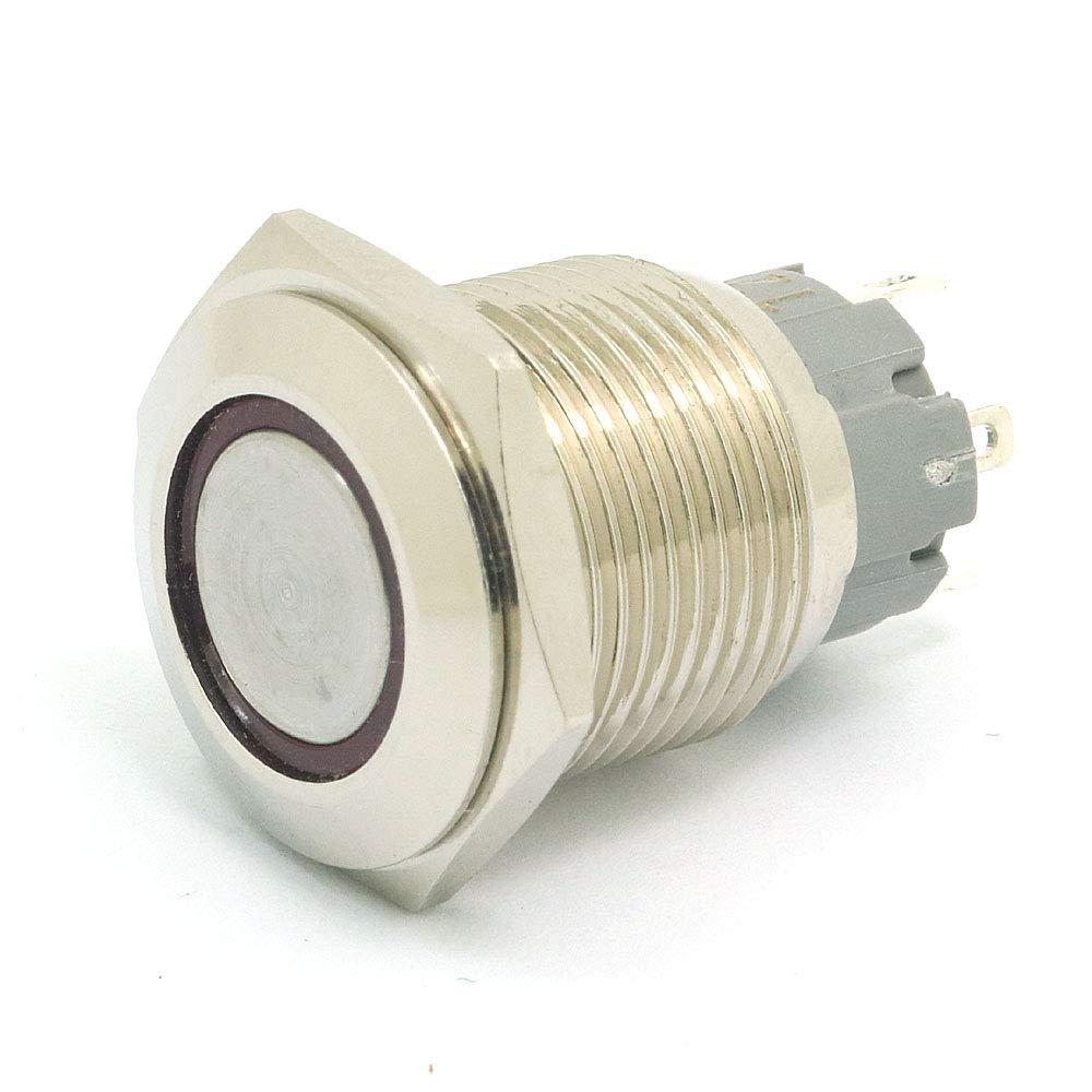 Rot DollaTek 2Pcs 16mm 10A Momentary Switch Drucktastenschalter 12V DC Angel Eye LED wasserdichter Edelstahl runder Llight-Schalter