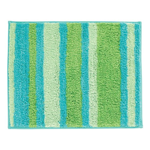 InterDesign Microfiber Stripz Bathroom Shower Accent Rug, 21 x 17, Blue/Green ()
