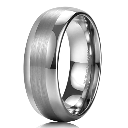 King Will Gentleman - Anillo de carburo de tungsteno para Hombre, 8 mm, Color
