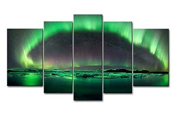 5 piezas de pared Art PINTURA Aurora boreal hielo nieve noche Impresiones sobre lienzo la imagen