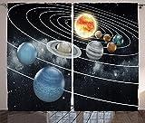 Galaxy Curtains 2 Panel Set Solar System all Eight Planets and the Sun Pluto Jupiter Mars Venus Science Fiction Art Living Room Bedroom Decor Black Grey