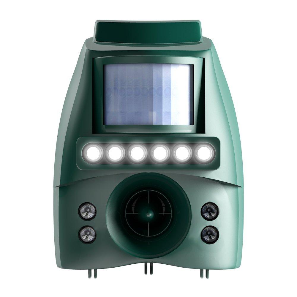業務用 猫よけ 防水 防塵 IP65準拠 【ソーラー対応 乾電池も可】 超音波 広範囲 200㎡対応 強力LEDフラッシュライト6灯発光 B01LYWXGQQ