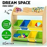 Artiss Kids Bookshelf Wooden Bookcase with Storage Bins Natural