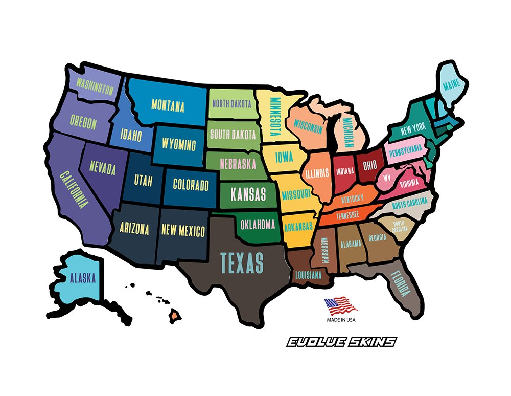 RV Trailer USA State Sticker Map Road Trip Accessories Vinyl - Us states traveled map