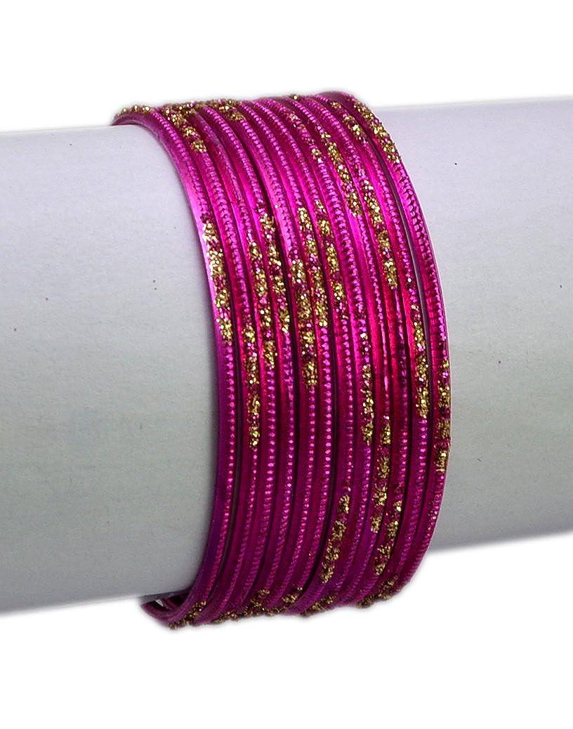 Dark Pink Color Indian Traditional Bollywood Fashion Costume Metal Bangles Chudi