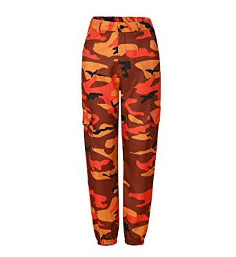 74ce0098c6 JLTPH Donna Pantaloni Mimetici Sciolto Pantaloni Vita Alta con Tasche Cargo  Pantaloni Sportivi Pants Jeans