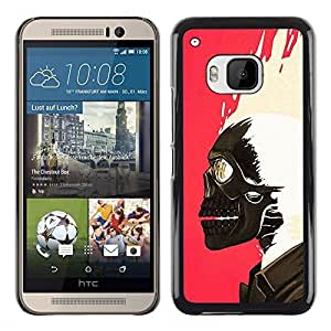 A-type Colorful Printed Hard Protective Back Case Cover Shell Skin for HTC One M9 ( Skull Paint Pink White Biker Pink )