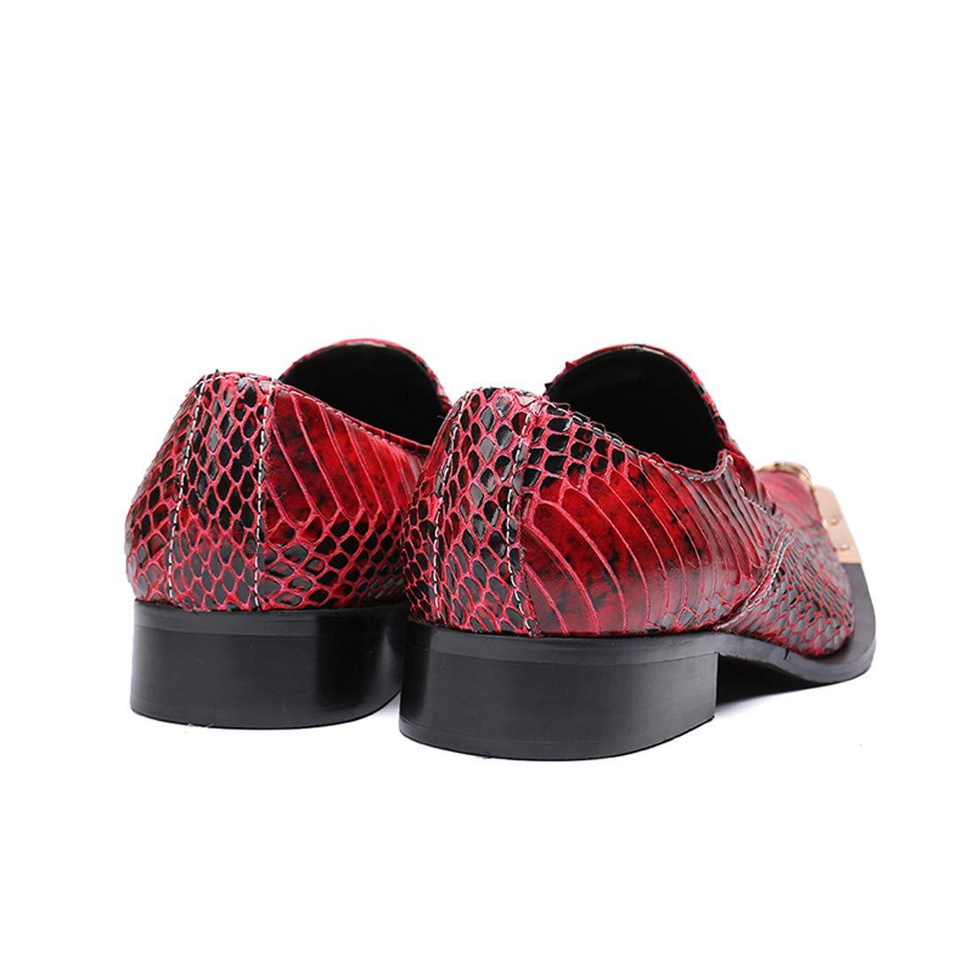 DANDANJIE DANDANJIE DANDANJIE Zapatos de la Novedad de los Hombres Cuero Oxfords del otoño Fiesta de Boda y Tarde del Vino a Rayas (Color : Rojo, tamaño : 42 EU) 6d4b45