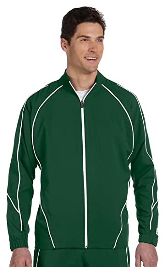 b3cee5d9d Russell Athletic S81JZM Men's Team Prestige Full-Zip Jacket - Dark Green/ White -