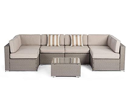 Suncrown Outdoor Modular Sectional Furniture Set (7-Piece) All-Weather Grey  Wicker - Amazon.com : Suncrown Outdoor Modular Sectional Furniture Set (7
