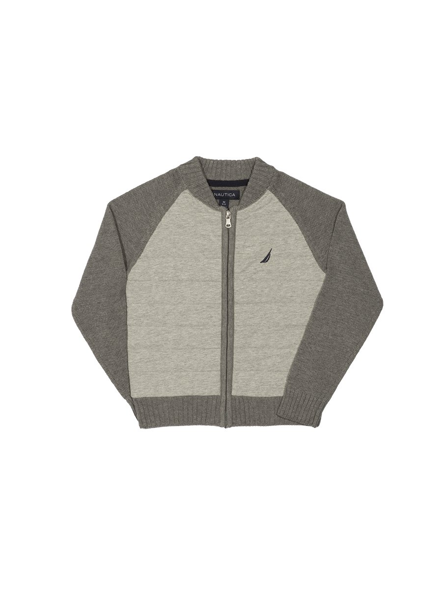 Nautica Boys' Big Quilted Full Zip Baseball Style Sweater, Grey Heather, Large (14/16)