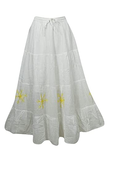 1f6b051f18 Image Unavailable. Image not available for. Color: Mogul Interior Women's  Peasant Maxi Skirt White Cotton ...