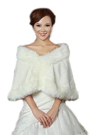 771cc4bef34bf1 Cape Damen Elegante Winter Festlicher Bride Bridal Hochzeit Warm Kunstpelz  Brautzusatz Mädchen Kleidung Brautjacke Brautschal (Color : Weiß, ...