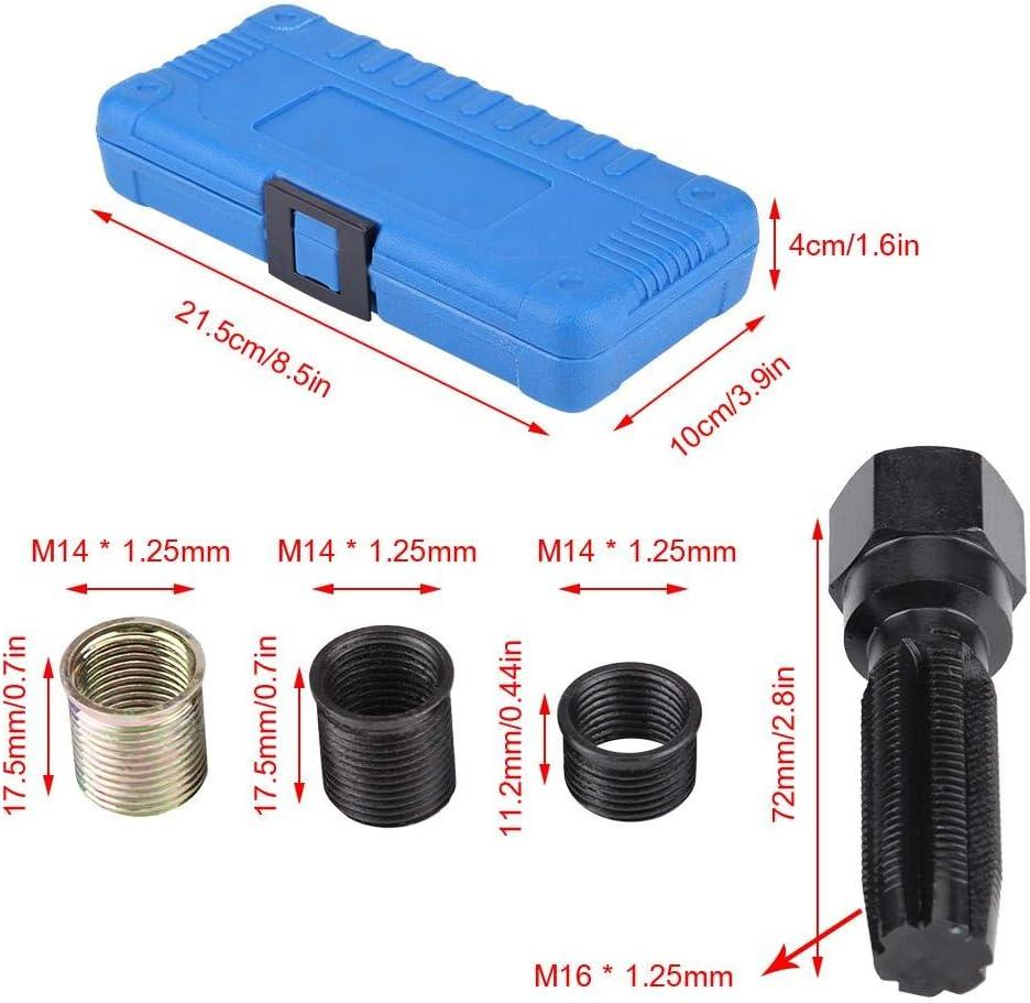 Spark Plug Thread Repair Tools Equipment Kit 16Pcs 14mm x 1.25 Spark Plug Thread Repair Tool Kit M16 Tap with Case