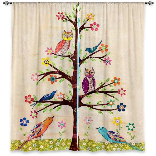 Window Curtains Lined from DiaNoche Designs Unique, Decorative, Funky, Cool by Sascalia Owl Bird Tree - Funky Curtain